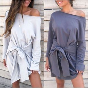 Dresses & Skirts - JUST IN!! - Off should tie dress in Charcoal gray